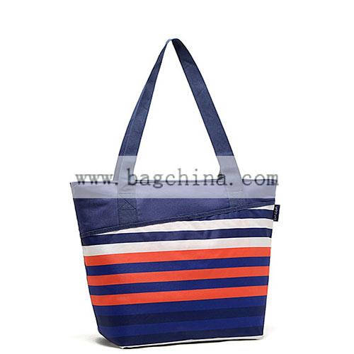 Foldable stripe cooler shopping bag