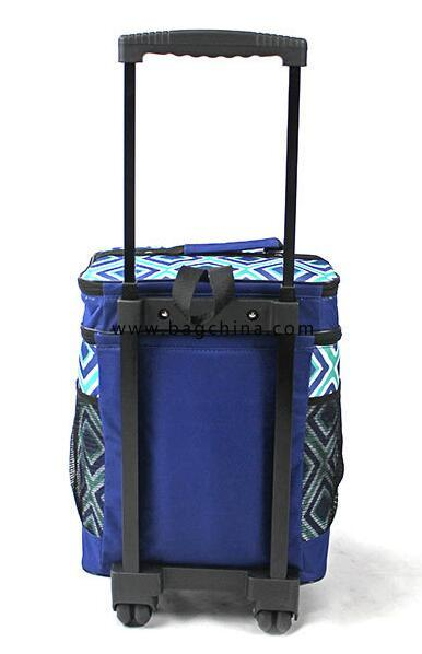 50 can Blue Diamond Pattern Trolley Cooler Bag