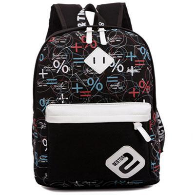 Canvas backpack shoulders geometric patterns casual schoolbag 6 colors