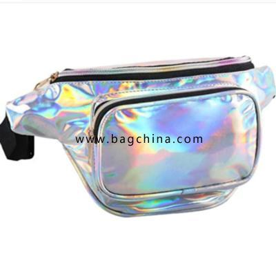 Unisex Bum Bag Shiny Fanny Pack Large Capacity Waist Bag with Adjustable Belt Outer Pockets Zip Closure