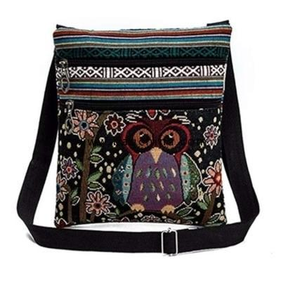 Women Embroidered Owl Tote Bags Shoulder Bag Messenger Bag with Double Zipper