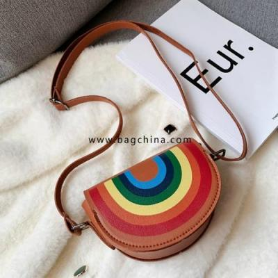 Cartoon Rainbow Children Mini Crossbody Bag PU Leather Baby Kids Smile Flower Coin Purse Cute Boys Girls Gift Accessories Bag