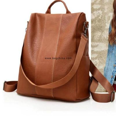 Female Anti-theft Backpack Classic PU Leather Solid Color Backpack Canta Fashion Shoulder Bag Simple Personality Ladies Backpack