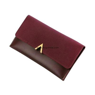 2020 New Leather Women Wallets Fashion Three Fold Design Women's Long Purse Patchwork Female Clutch Wallet Card Holder