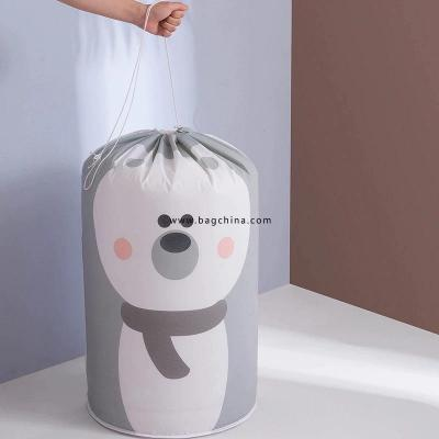 PEVA Drawstring Bag Cylindrical Beam Corrugated Seal Storage Bag Dust Clothes Storage Quilt Storage Bag Drawstring Bag