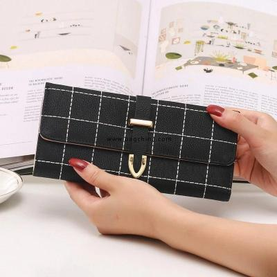 Women Wallets Long with Plaid PU Leather Fashion Hasp Coin Purse Phone Bag Card Holders Female Wallet for Girls Ladies